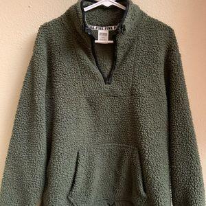 NWOT Dark Green Sherpa PINK sweatshirt